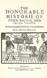 The cover Greene's play, showing Friar Bacon's brazen head